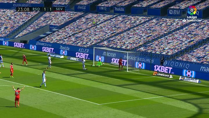 Gol de En-Nesyri (1-2) en el Real Sociedad 1-2 Sevilla