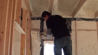 Insulation installation at the Proud Green Home at Serenbe