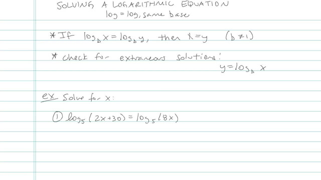 Solving a Logarithmic Equation - Problem 5