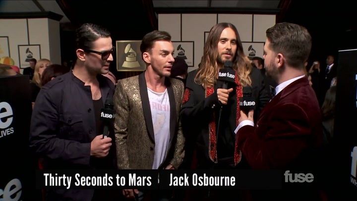 Jared Leto & 30 Seconds to Mars on Leto's Movie Awards at GRAMMY Red Carpet