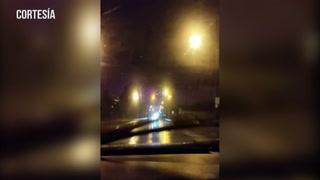El cielo nocturno se tiñe de púrpura tras el paso del huracán Michael