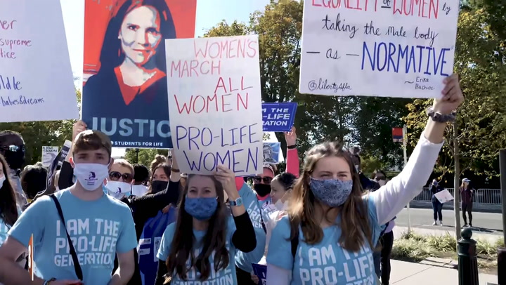Amy Coney Barrett Supporters Block BLM Activists Outside the Supreme Court