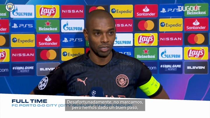 Fernandinho valora el empate del City en su visita al Oporto