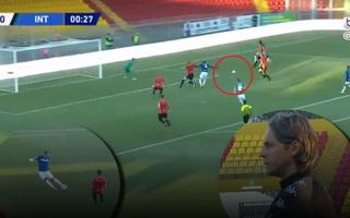 ¡Gol de camerino!  El golazo de Lukaku a los 35 segundos de haber iniciado el partido entre el Inter y Benevento
