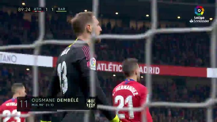 LaLiga Atlético-Barça. Gol de Dembélé (1-1)