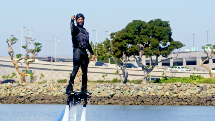 King Keraun Attempts to Fly Board