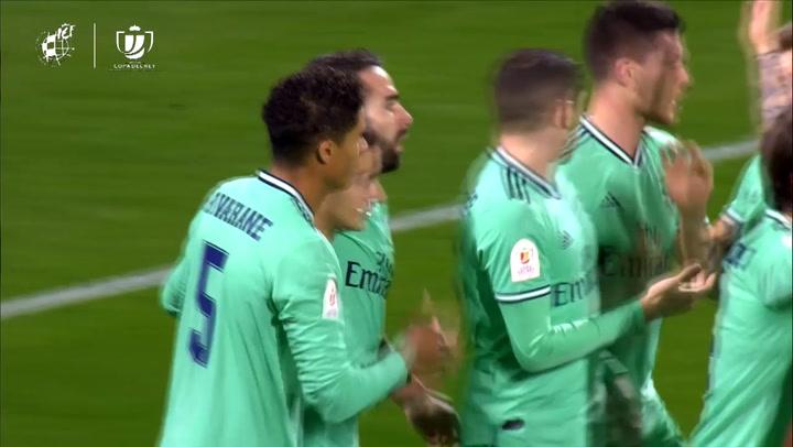 Real Zaragoza - Real Madrid. Gol de Raphael Varane (0-1)
