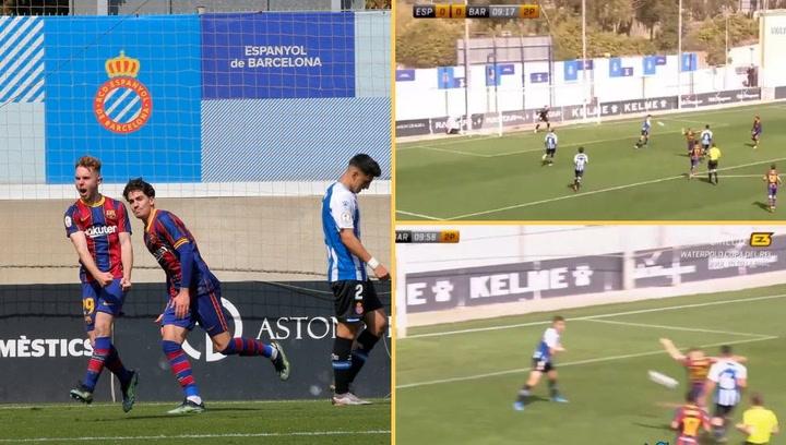 Golazo de Peque en el  Espanyol B 0 - 1 Barça B