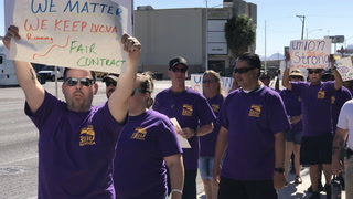 SEIU pickets for new contract outside Las Vegas Review-Journal