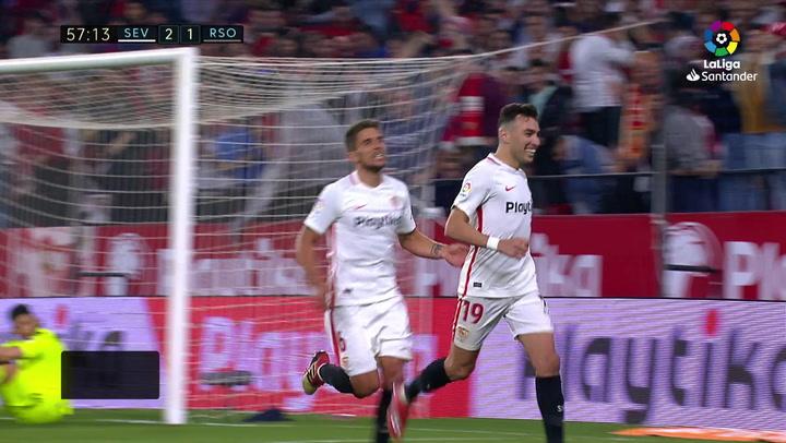LaLiga: Sevilla-Real Sociedad. Gol de Ben Yedder (3-1)
