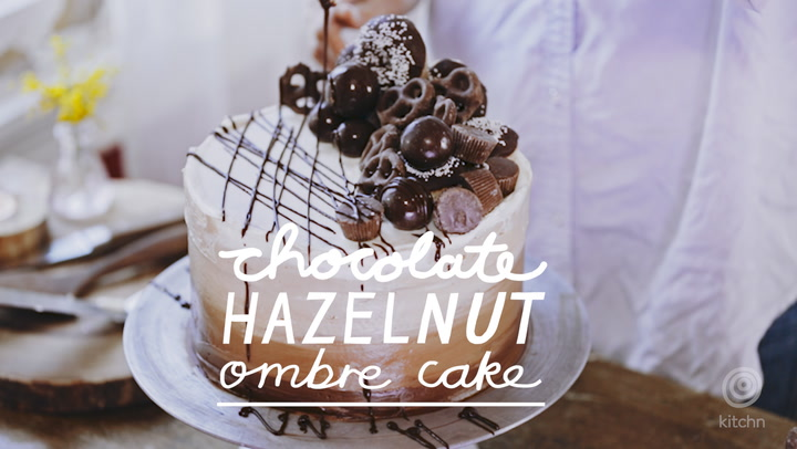 Chocolate Hazelnut Ombre Cake