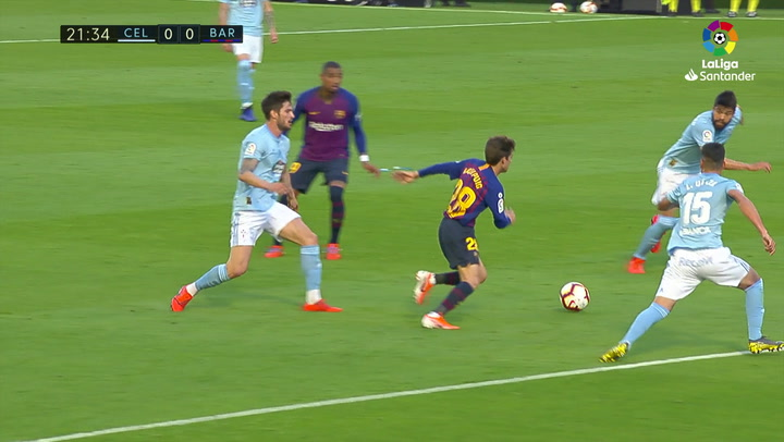 LaLiga: Celta - Barça. Riqui Puig se atreve con una 'ruleta'
