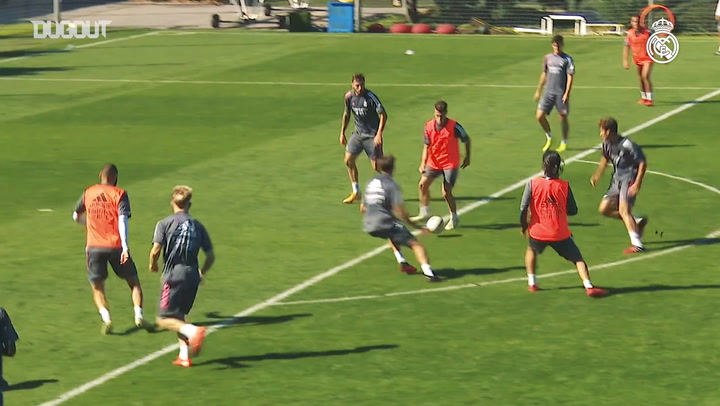 Real Madrid focus on possession drills in training