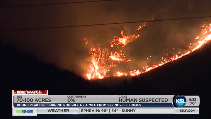 Round Peak Fire Burning Just East Of Springville