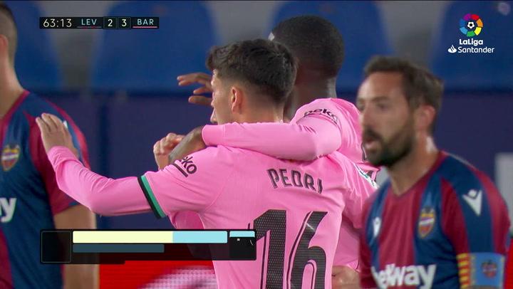 Gol de Dembélé (2-3) en el Levante 3-3 Barcelona