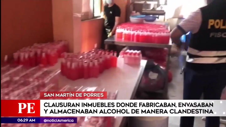 SMP: intervienen locales donde fabricaban alcohol en condiciones insalubres