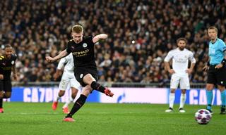 Kevin De Bruyne anota el 2 - 1 de Manchester City ante Real Madrid