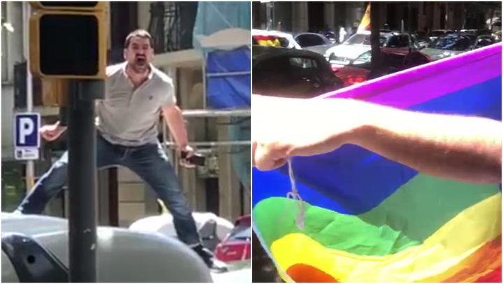 Manifestantes de Vox en Barcelona insultan a gritos a jóvenes que sostenían la bandera gay