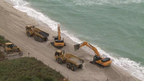 EEUU vierte arena en playas de Miami Beach erosionadas por el cambio climático