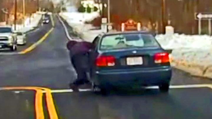 Politimann slept etter bil i 135 meter