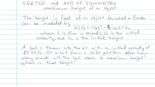 The Vertex and Axis of Symmetry - Problem 4