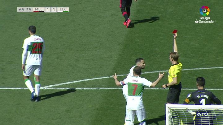 Laliga 1|2|3: Mallorca - Elche (1-1). Expulsión de Qasmi