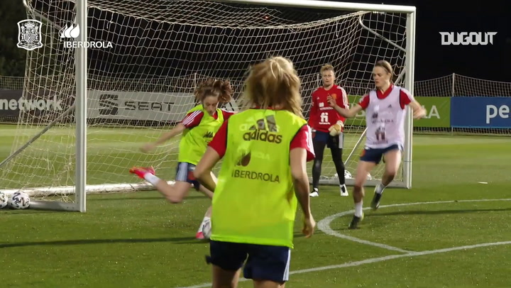 Spain women's national team play game in training