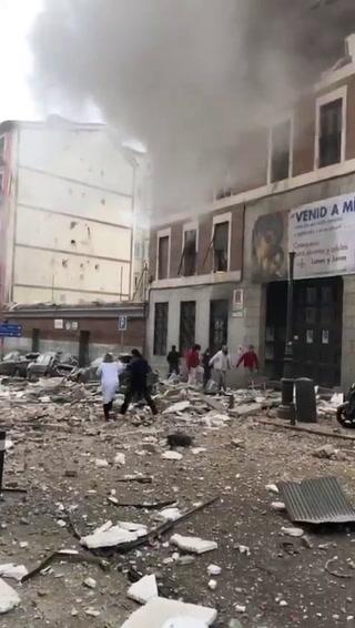 Imágenes minutos después de la explosión en el centro de Madrid
