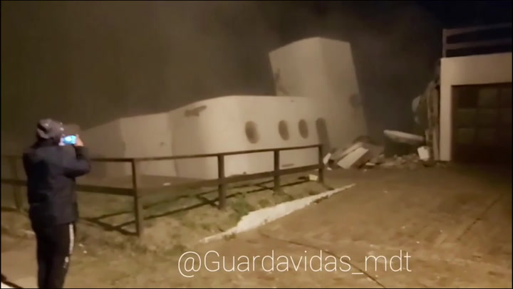 House falls off cliff in Argentina as sea reclaims the land