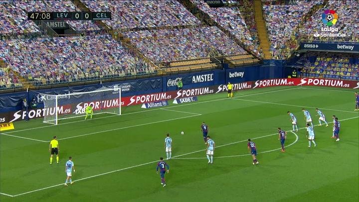 Gol de Roger (p.) (1-0) en el Levante 1-1 Celta