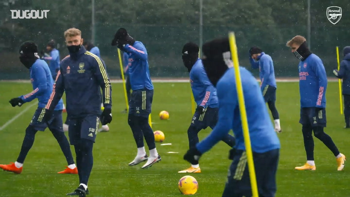 Arsenal train in the snow ahead of Leeds clash