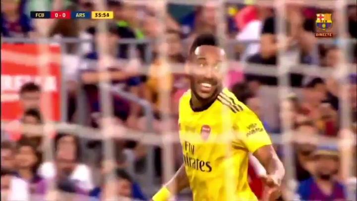 Aubameyang marcó el gol del Arsenal ante el Barça en el Gamper