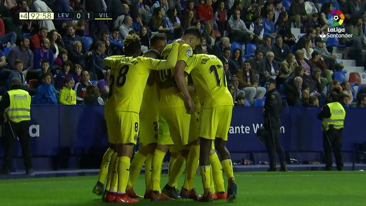 LaLiga: Levante-Villarreal. Gol de Rober Pier en propia puerta (0-1 p.p.)