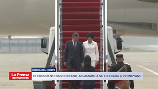 Presidente surcoreabi aclamado por su llegada a Pyongyang