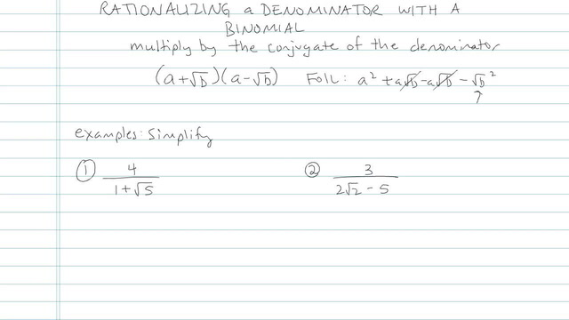 Rationalizing a Denominator with a Binomial - Problem 8