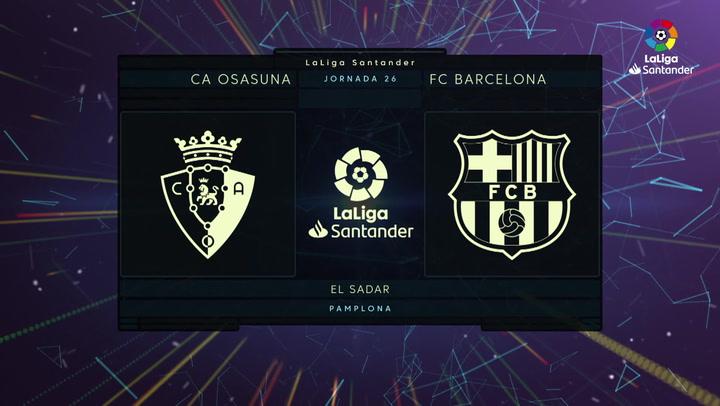 LaLiga Santander (J26): Resumen y goles del Osasuna 0-2 Barcelona