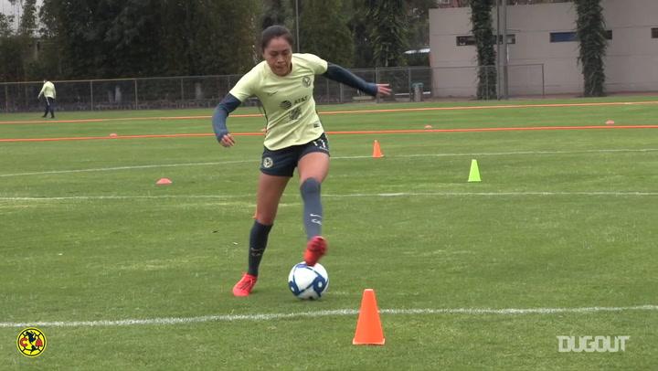 El entrenamiento del Club América Femenil