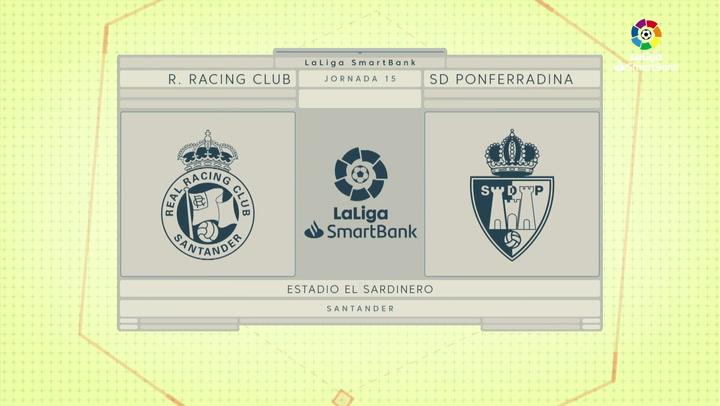 LaLiga SmartBank (J15): Resumen y goles del Racing 2-2 Ponferradina