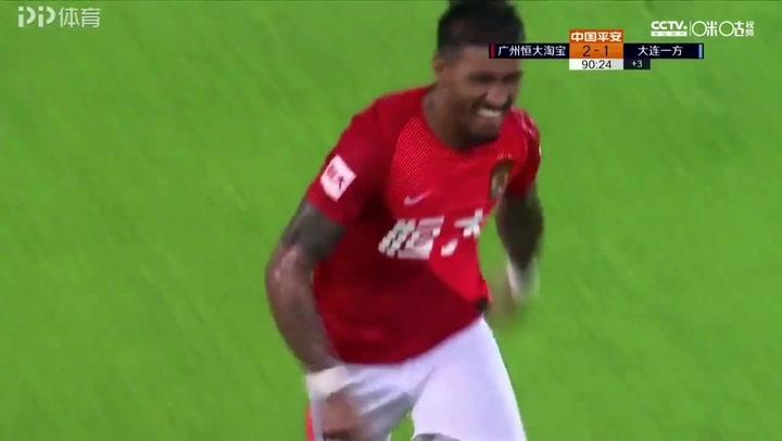 Dos goles más de Paulinho para anotar un hat-trick con el Guangzhou ante el Dalian Yifang