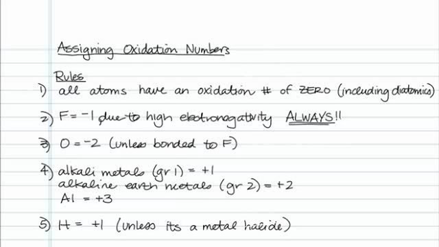 Tips for Assigning Oxidation Numbers