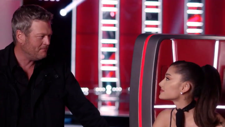 Blake Shelton and Ariana Grande joke on The Voice
