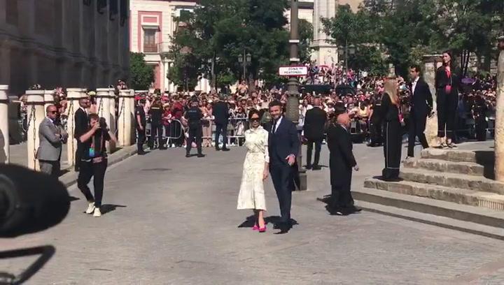 LLegada de David Beckham y Victoria Beckham a la boda de Sergio Ramos y Pilar Rubio