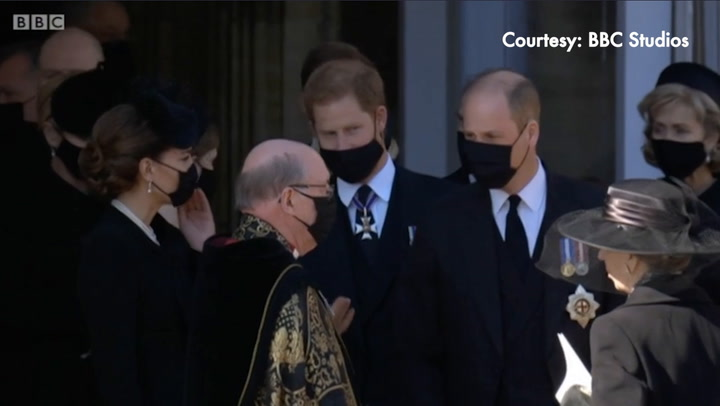 Prince Harry and the Cambridges share a moment following Philip\'s funeral