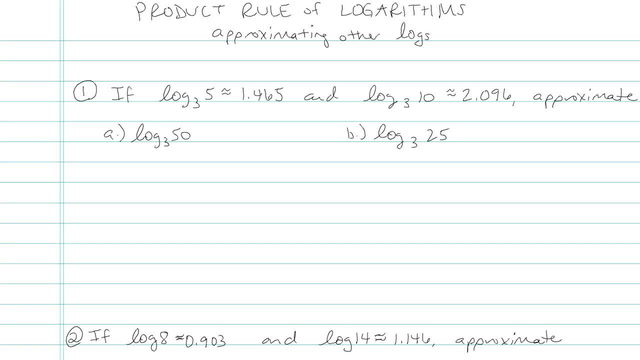 Evaluating a Logarithmic Expression in terms of Known Quantities - Problem 4