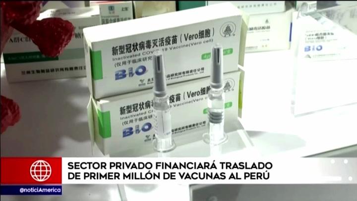 Coronavirus: sector privado financiará traslado de primer millón de vacunas Sinopharm al Perú