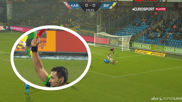 Highlights: Rødt kort efter vanvidstackling gjorde det svært for Brøndby!