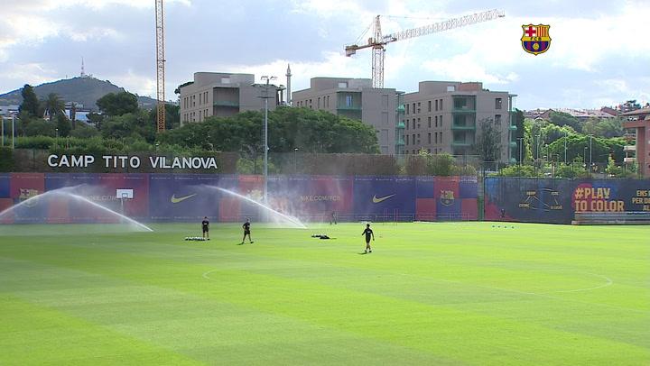 Entrenamiento del Barça previo al partido contra el Villarreal