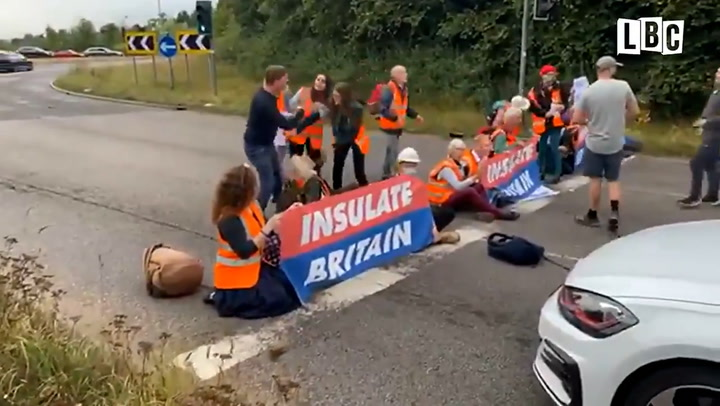 Man drags 'Insulate Britain' climate protester away after group invade M25