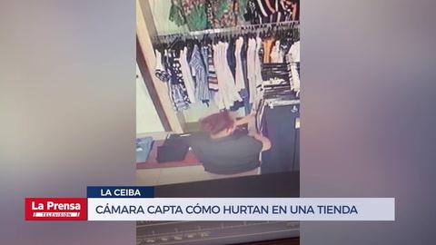 Cámara capta cómo hurtan en una tienda de La Ceiba