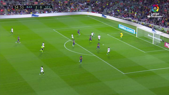 Gol de Dembélé (3-0) en el Barcelona 4-0 Sevilla